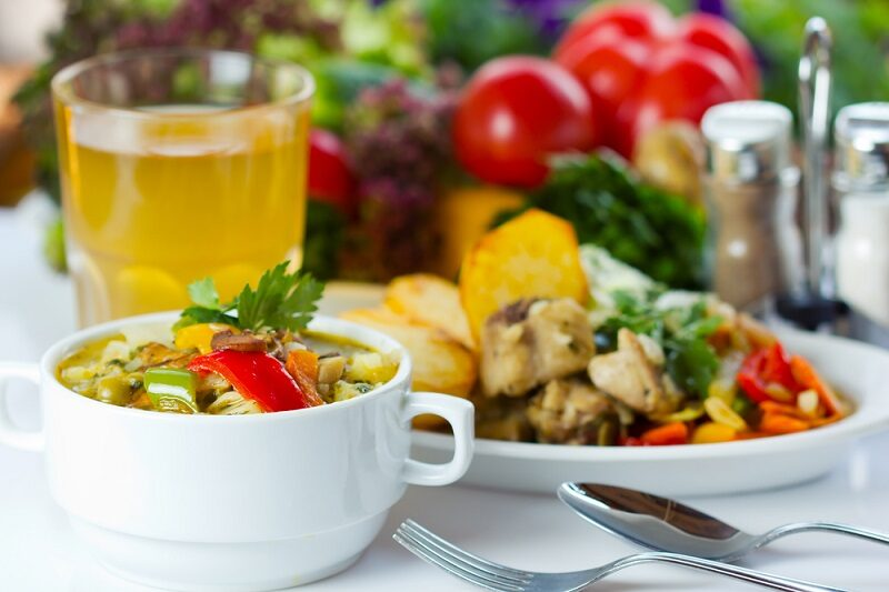 business-lunch-with-soup-salad-and-juice
