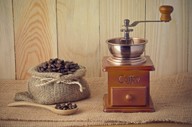 coffee-grinder-on-wooden-table