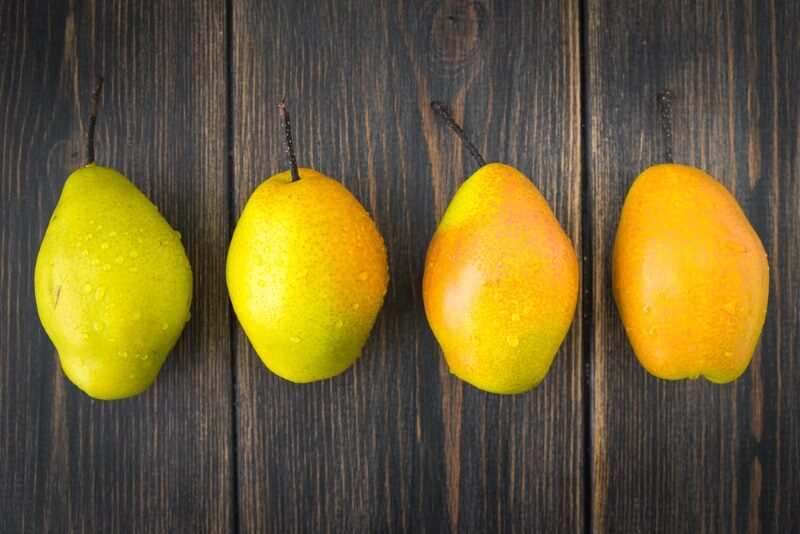 pears-of-different-ripeness-on-dark-rustic-wooden-background-top-view